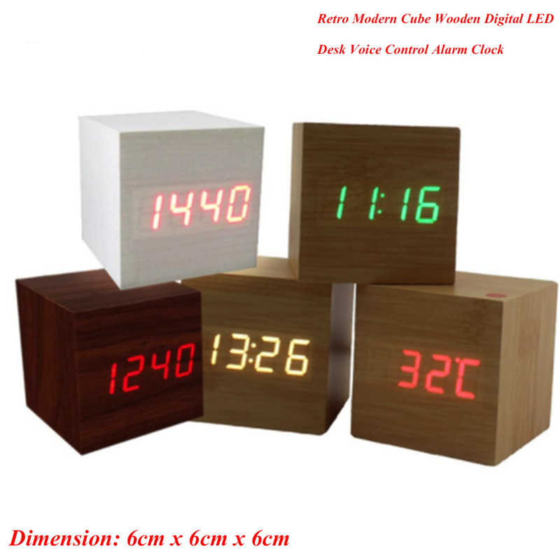 Hot Sale Sound Control Wooden Wood Square LED Digital Desktop Alarm Clock Thermometer Wood USB/AAA Date Display