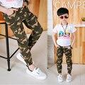 Nuevo 2016 primavera/Otoño Adolescentes Jeans Para Niños Pantalones de camuflaje Pantalones de Los Niños Cintura Elástica Denim Pantalón Largo