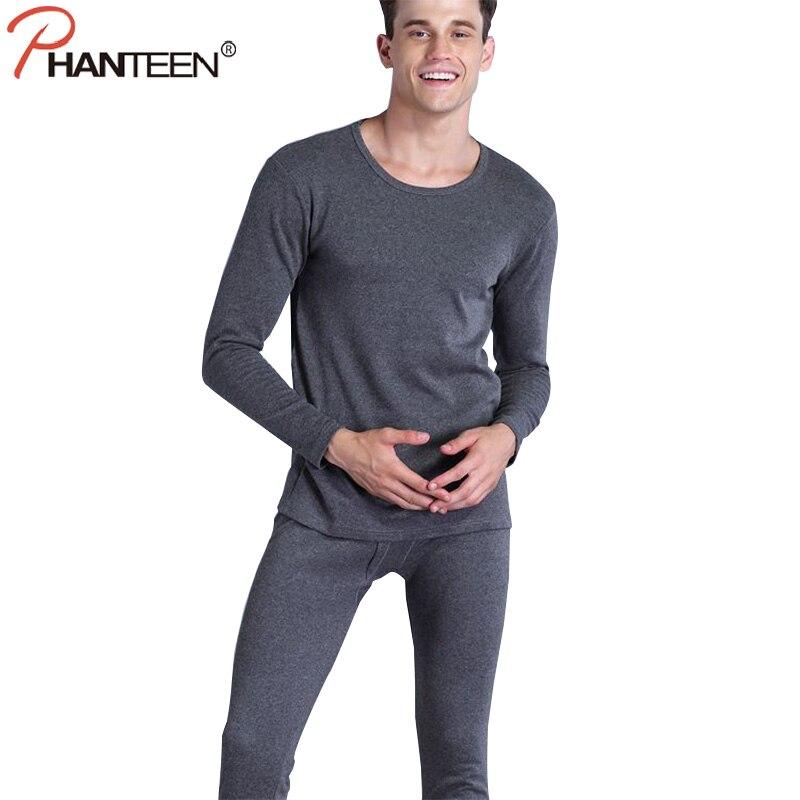 Phanteen invierno Calzoncillos largos color sólido rayas color tee + Pantalones un conjunto elástico cómodo mantener caliente casual Hombre Ropa interior