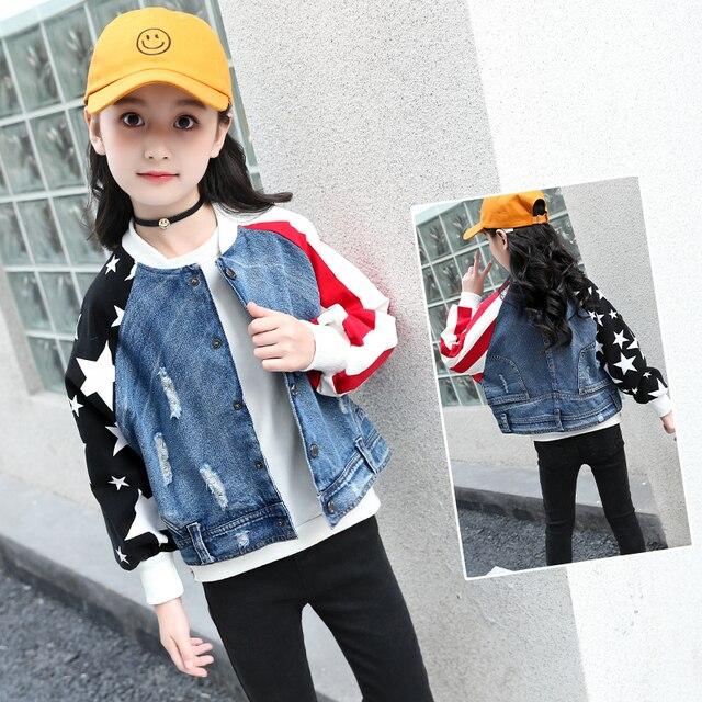 9bd2e4e90 JMFFY 2018 niños abrigos adolescentes chica Denim manga larga chaqueta de  otoño para las niñas niño Jeans 6- 15 t Ripped