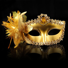 New Sexy Diamond Venetian Mask Venice Feather Flower Wedding Carnival Party Performance Purple Costume Sex Lady Mask Masquerade