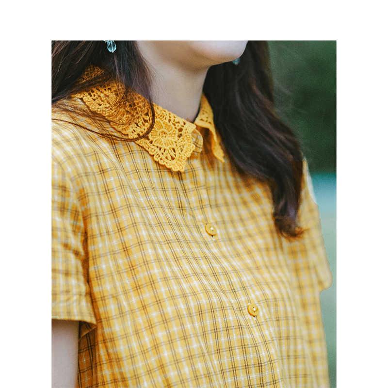 をインマン 2019 夏新着ターンダウン襟文学チェック柄レトロカジュアルすべて一致半袖女性シャツ