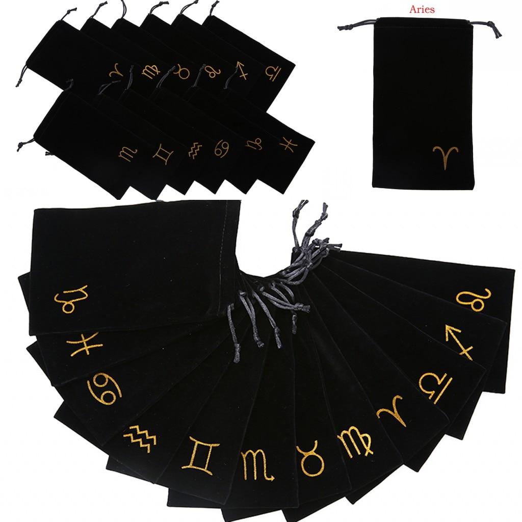 2019 New 1PCS Velvet Tarot Card Storage Bag Mini Jewelry Drawstring Package Board Game Cards Bag 19.5cm X 11cm 12 Constellations