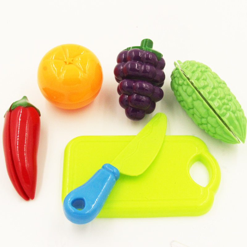 6pcs Children Play House Toy Cut Fruit Plastic Vegetables Kitchen Baby Classic Kids Toys Pretend Playset Educational Toys W0059