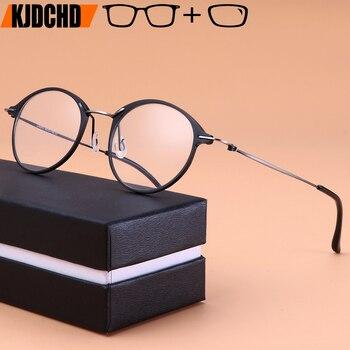 b742556e89 Aleación de titanio gafas marcos miopía óptico de las mujeres de los hombres  Vintage redondo gafas Retro sin tornillos gafas con lentes