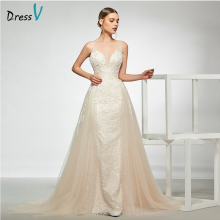 Dressv elegant v neck sleeveless floor length wedding dress