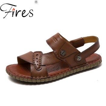 Los incendios de los Hombres sandalias de verano Zapatos casuales de cuero...
