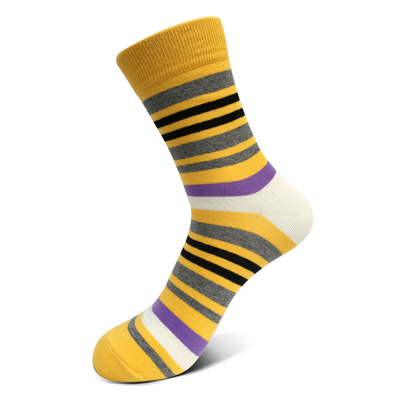 5pairs/set mens colourways stripes socks casual cotton chromatic sox fashion designer style dress business crew socks