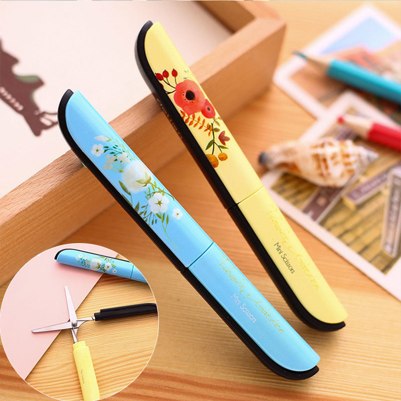 Portable Vintage Printing Scissors Cute DIY Scrapbooking Tools For Paper Safety Scissor School Supplies For Kids Students Gift