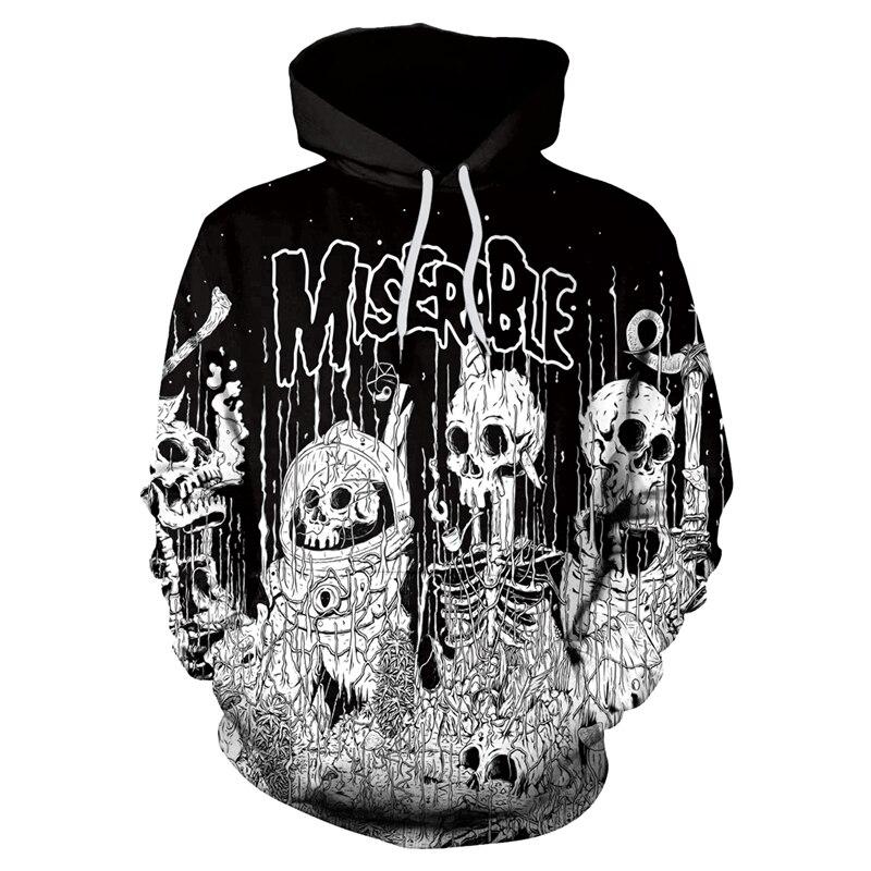 New Fashion Men Women Halloween Miserable Skulls Printed 3d Hoodie Hip Hop Men Hooded Pullovers Tracksuits Men Skulls 3d Hooide