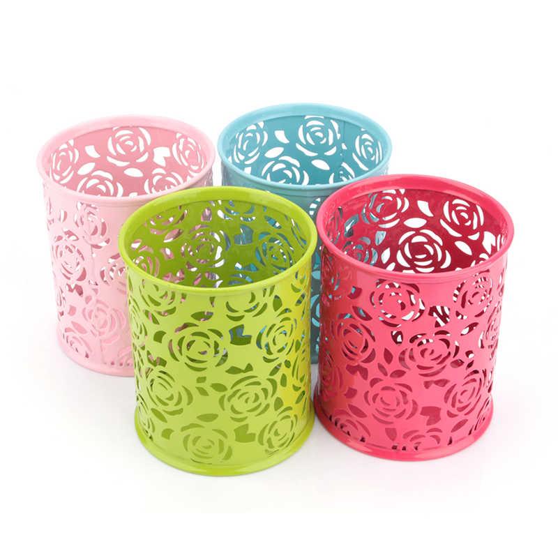 Flower Plastic Pen Pot Containers Makeup Brush Storage Blue Pink