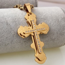 High Quality Stainless Steel Gold Christian Crystal Cross Pendant 5mm Byzantine Chain Necklace Men's Women's Jewelry Xmas Gift