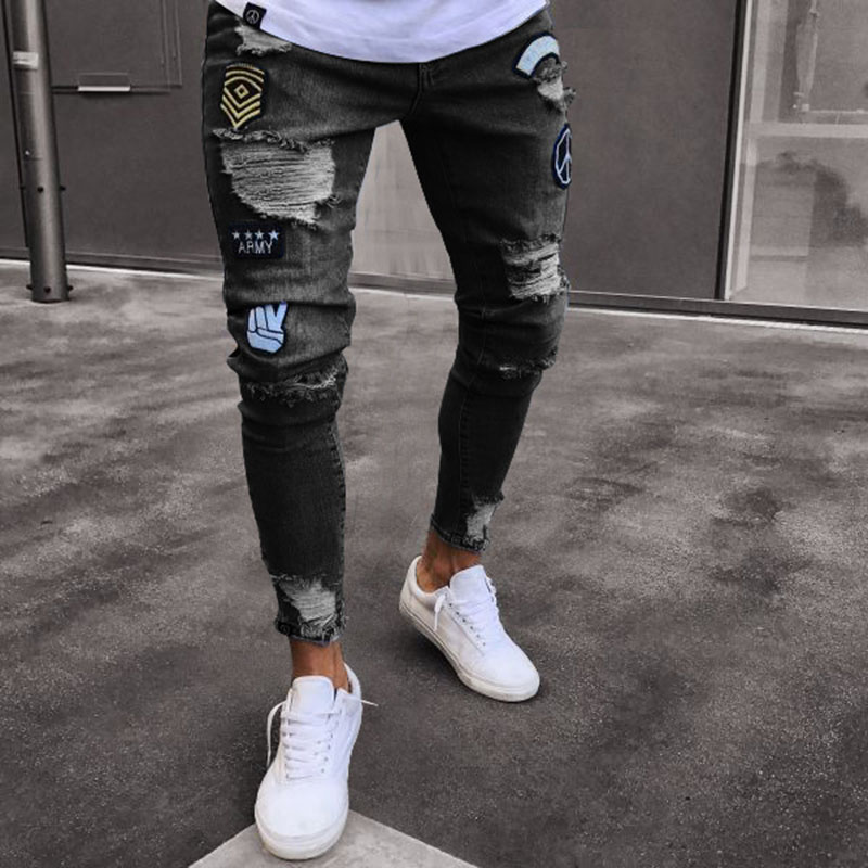 2018 Classic Cowboys Young Man Black Blue Men's Casual Thin Summer Denim Pants Hole Embroidered Jeans Slim Men Trousers NEW