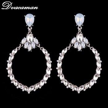 Dvacaman New 3 Color Fashion Jewelry  Round Pendant Special Design Wedding Statement Earrings Boho Women Stud Earrings 6482