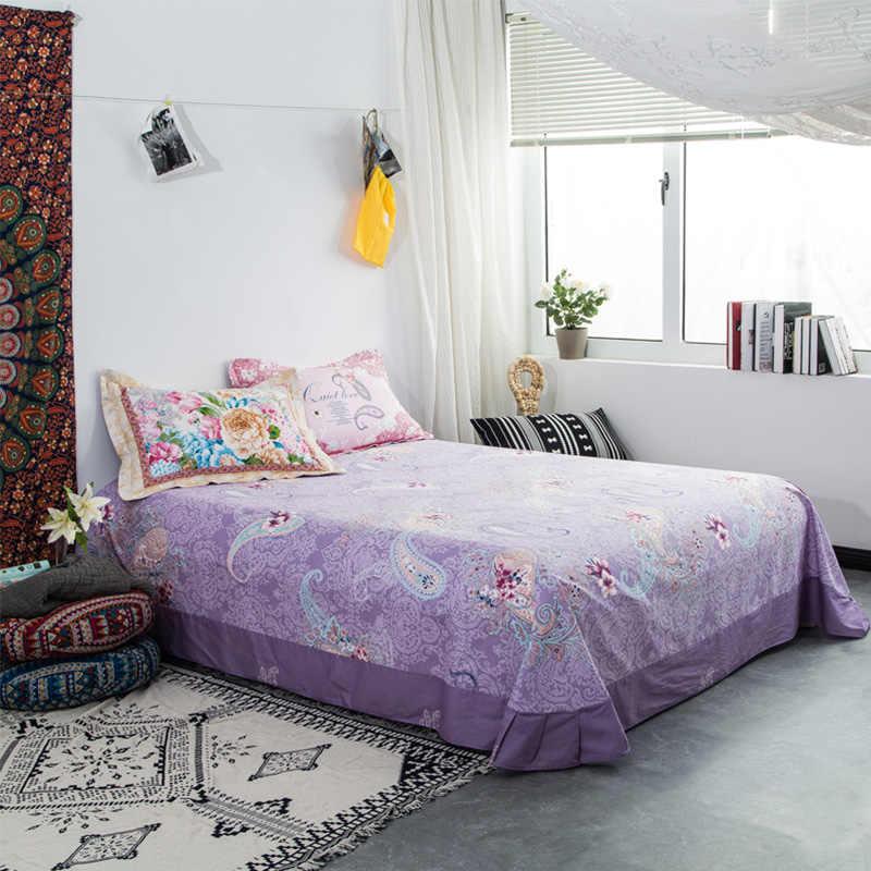 Цветочный узор 100% гладкая хлопковая материя Твин Полный queen King размер простыня для одной двойной кровати супер мягкий чехол на матрас простыни