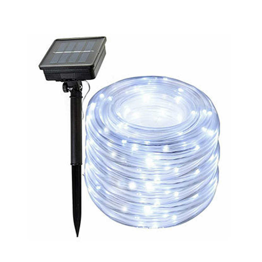 12 M 100 LED Solar Tali Tabung String Lampu Taman Outdoor Natal Garland LED Globe LED Strip Lampu Peri Tahan Air multi Warna