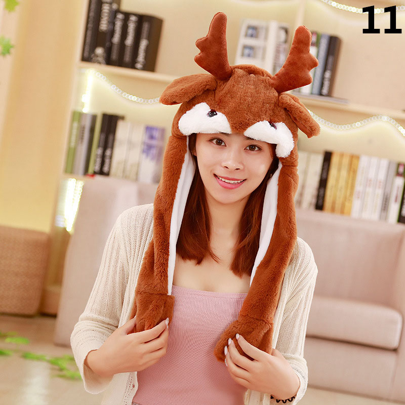1 Pcs Rabbit Animal Ear Hat Cap Cute Plush Controllable Airbag Gift For Children Kids Girl GDD99