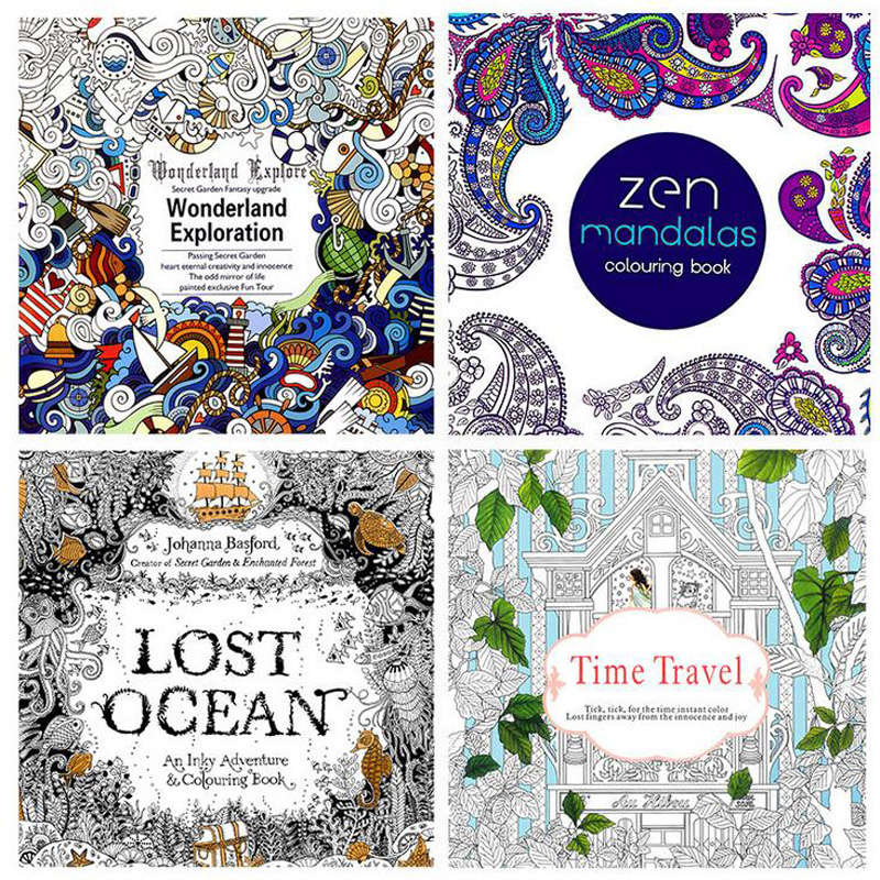 4pcs /lot 2016 NEW Arrive Relieve Stress For Adult Painting Drawing Book 24 Pages Kill Time English Colouring Books