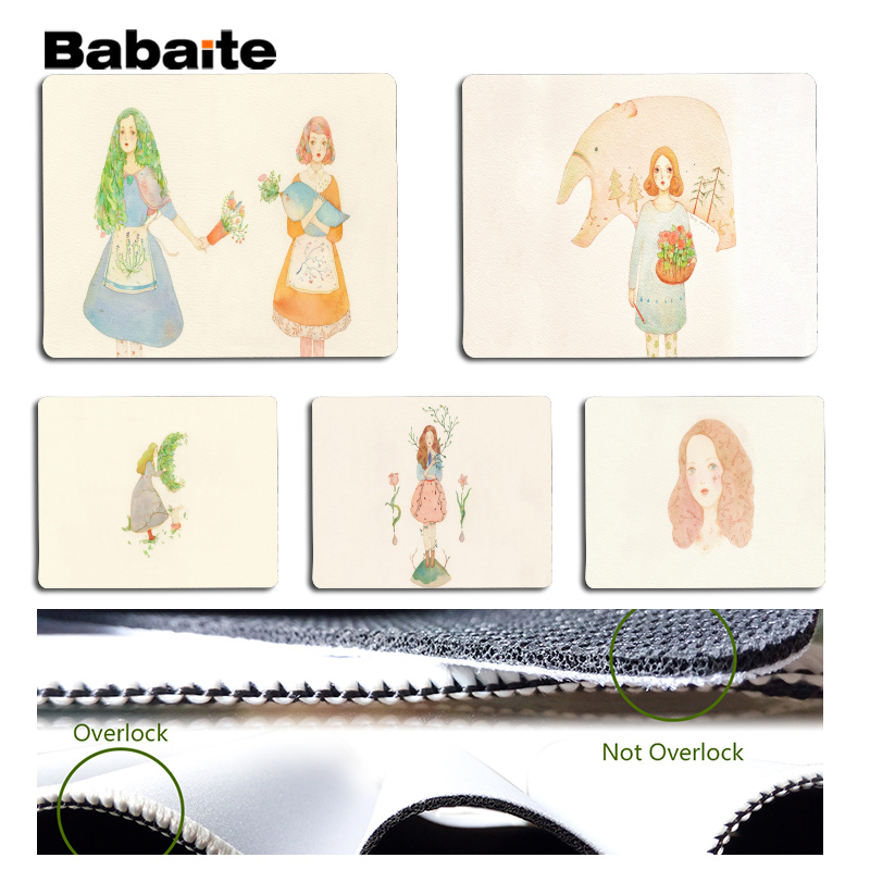 Babaite 2018 New Lovely girl watercolor painting Large Mouse pad PC Computer mat Size for 180x220x2mm and 250x290x2mm Mousepad