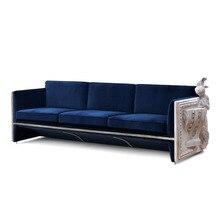 Европейский высококачественный изготовленный на заказ деревянный ручной резной тканевый диван для 3 человек