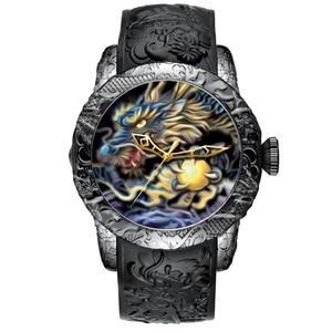 Image 1 - MEGALITH Fashion Dragon Sculpture Watch Men Waterproof Big Dial Quartz Watch Luxury Emboss Men Watch Top Luxury Brand Clock 8041