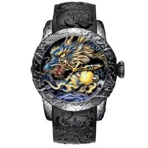 Image 1 - MEGALITH moda złoty smok rzeźby zegarek mężczyzn zegarek kwarcowy zegarek wodoodporny Big Dial zegarki sportowe mężczyźni oglądać najlepsze luksusowy zegar markowy