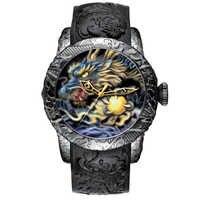 Reloj de escultura de dragón de oro de moda MEGALITH reloj de cuarzo para hombre reloj deportivo de esfera grande resistente al agua reloj de marca de lujo para hombre