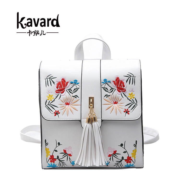 Kavard Fashion Embroidery Girl Backpacks Cute School Bags New Women Backpack PU Leather Female Shoulder Bag mochilas mujer 2017 women backpacks fashion pu leather shoulder bag small backpack women embroidery dragonfly floral school bags for girls