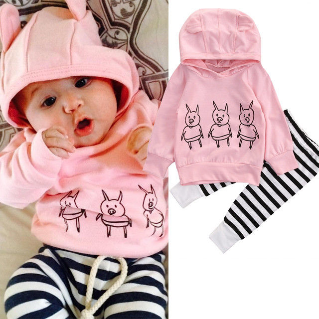 Fashion New Pigs Baby Girls Clothes Set Kids Long Sleeve Sweatshirt Hooded Tops + Striped Pants Outfits Clothing Tracksuit Set active ruffled hooded long sleeve gym outfits for women