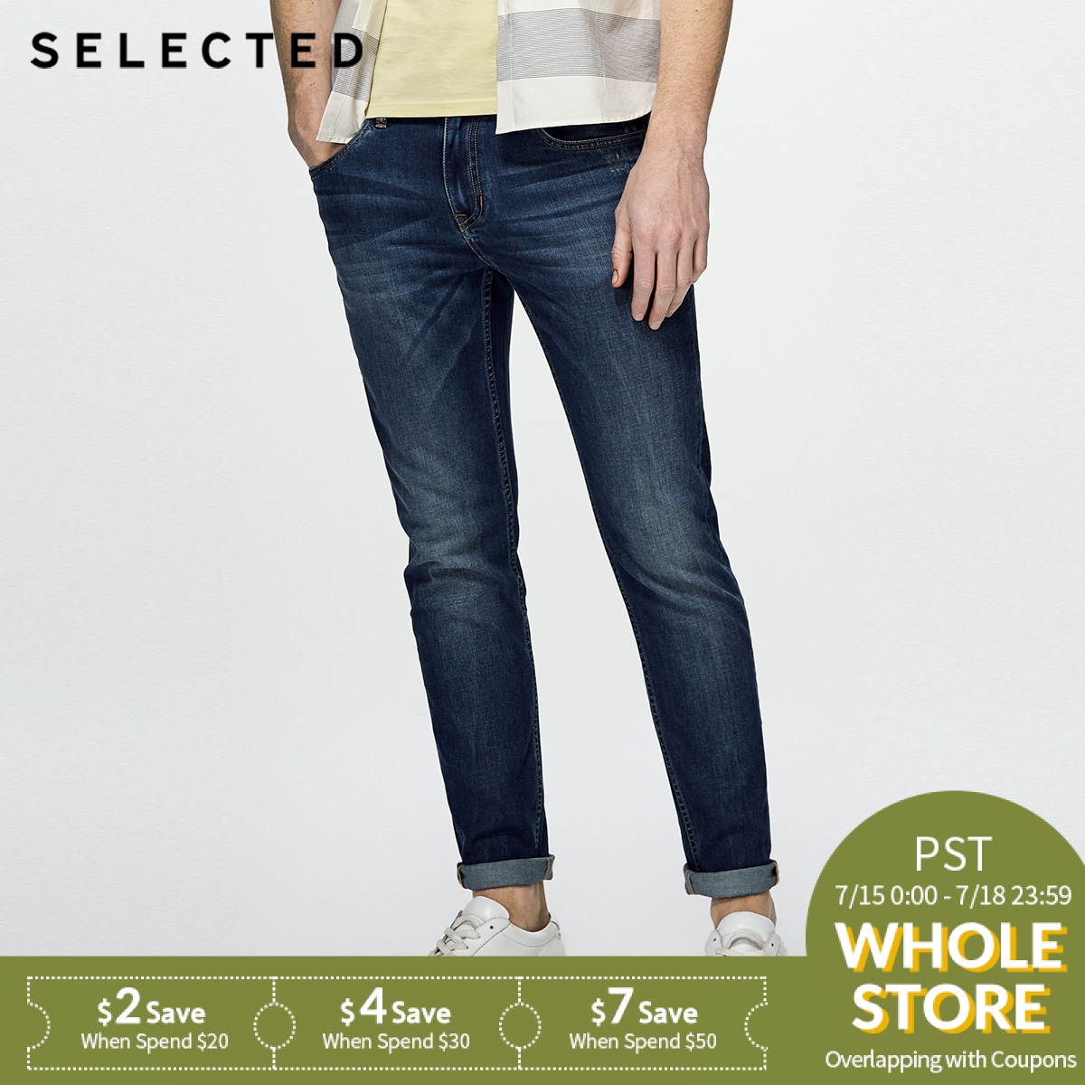 SELECTED Cotton-blend slim faded and washed   jean   pants C|418232519