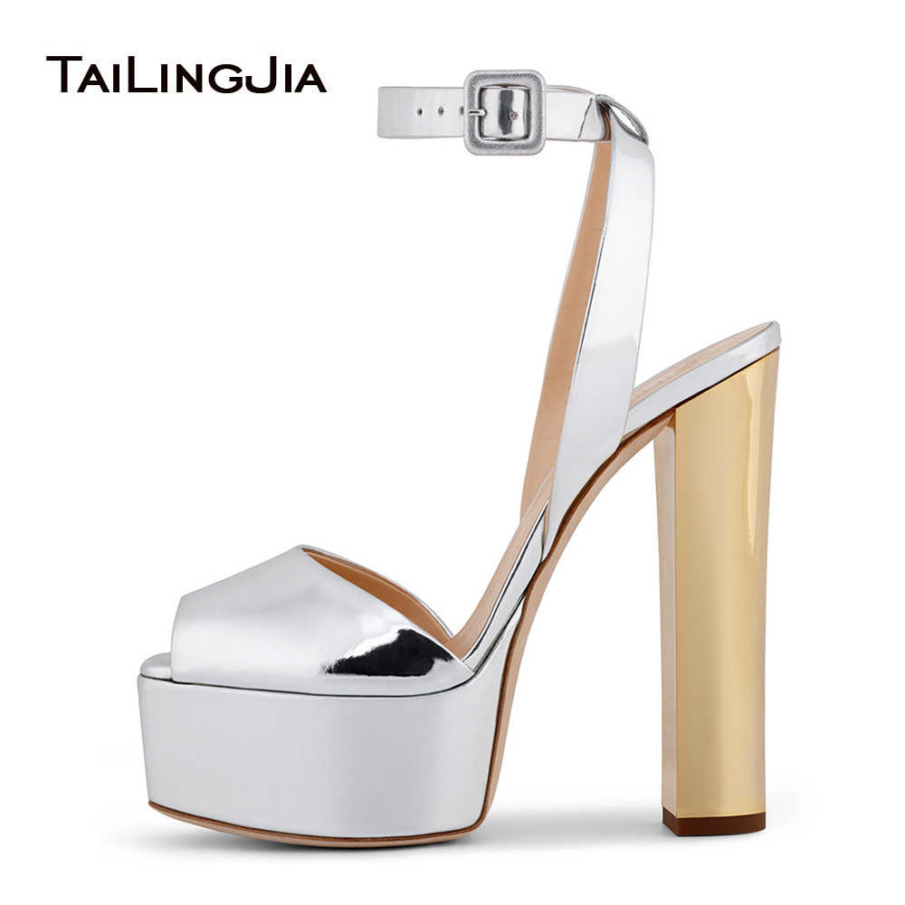 75ac36443c5a Peep toe Platform High Heel Sandals for Women Shiny Patent Black Rose Gold  Heels Chunky Heel