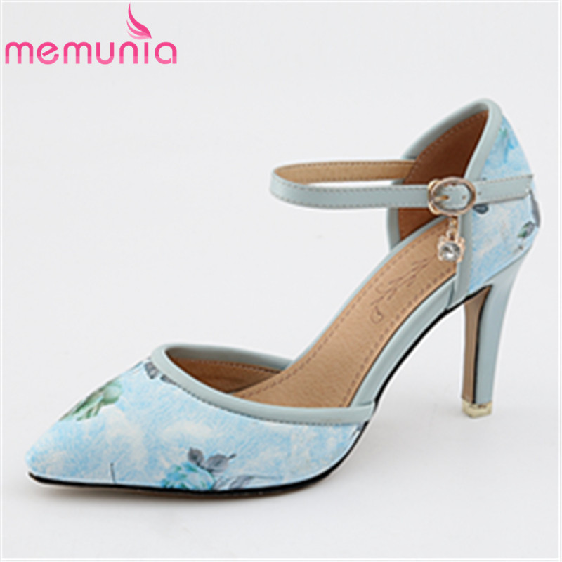 MEMUNIA Four colors hot sale pu leather woman shoes high heels fashion elegant summer shoes buckle women pumps shoes size 34-46 memunia new arrive hot sale genuine