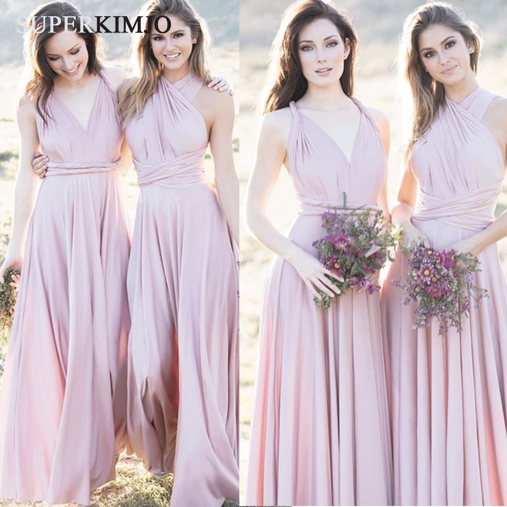 SuperKimJo Wedding Guest Dress 2020 Pink Convertible Bridesmaid Dresses Long Chiffon Cheap Dress For Wedding Party