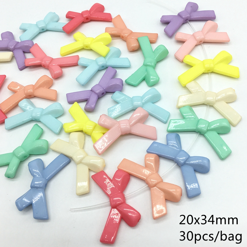 Acrylic Candy colorful Bow Beads Flexible Combination Beads For Jewelry Making kids toy DIY Craft Needlework Accessories 20x34mm