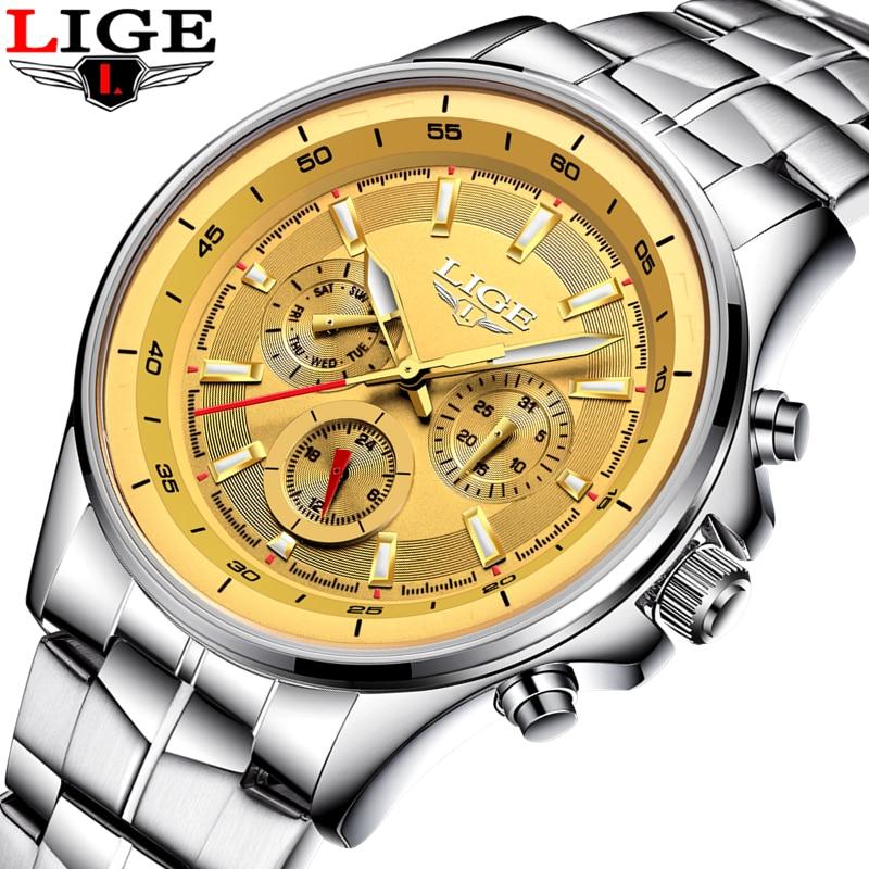 LIGE Watch Men Business Waterproof Clock Mens Watches Top Brand Luxury Fashion Casual Sports Quartz Wristwatch Relogio Masculino