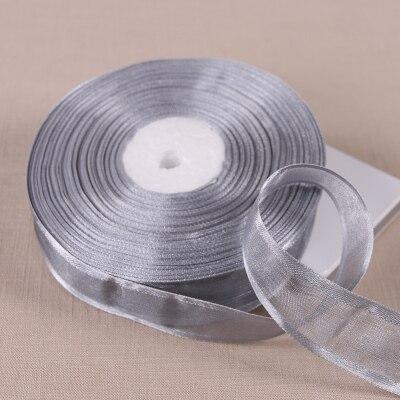(50 ярдов/партия) 1′ (25 мм) Broadside серебристо-серые ленты из органзы оптом/день рождения и рождественские подарки упаковка украшения ленты