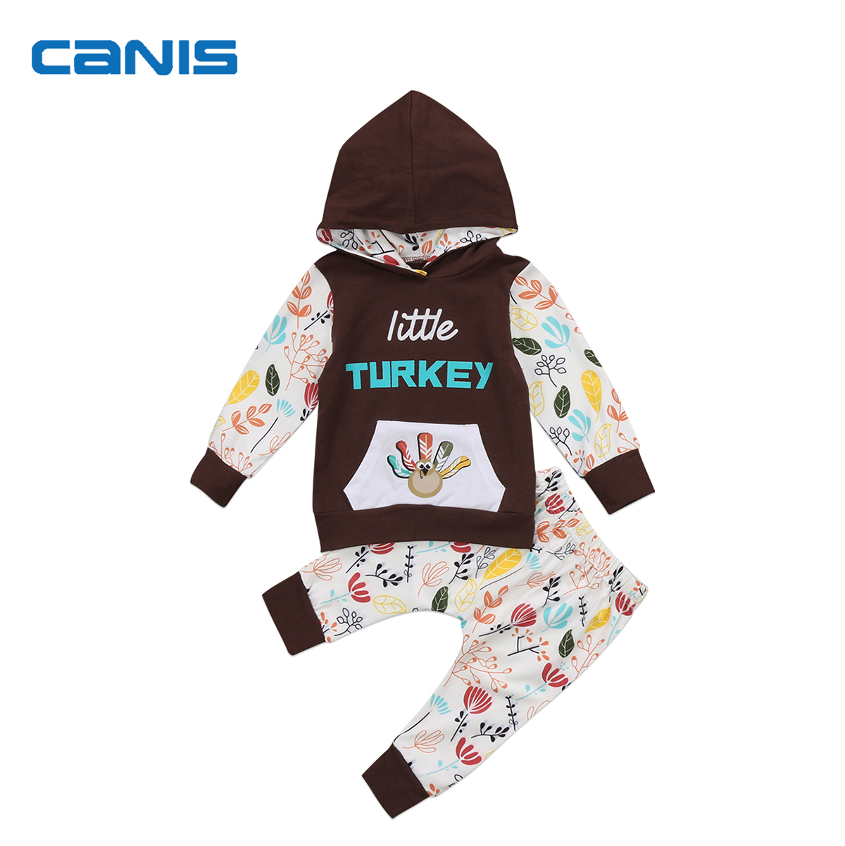 2017 Brand New Toddler Infant Newborn Baby Kids Boys Girls Clothes Hooded Long Sleeve Tops Long Pants Sets Turkey Printed Outfit