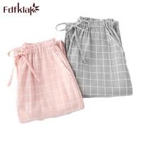 Fdfklak Women's Trousers In Large Sizes Pants For Women Spring Summer Plaid Pajama Pants Sleep Bottoms Cotton Lounge Pants Q792