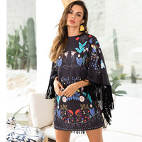long sleeve autumn Batwing Sleeve Cloak women dress black floral print Tassel fashion bodycon bandage party office pencil dress
