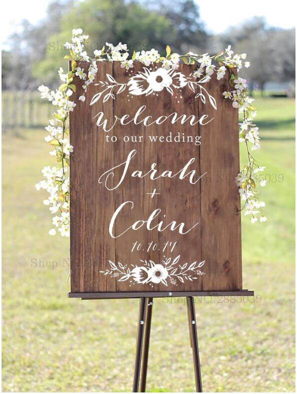 New Flowers Wooden Board Wedding Sign Decals Welcome To