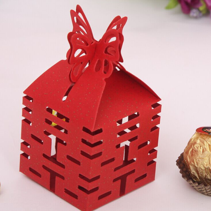 Free Shipping 50 Pcs Decoupage Chinese Wedding Favor Boxes Butterfly Double Happiness Red Wedding Party Candy Box Favor Gifts In Gift Bags Wrapping