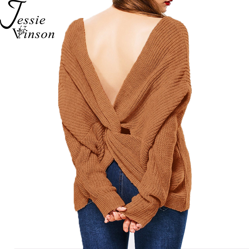9ca0be459a Jessie Vinson Fashion V neck Long Sleeve Cross Back Loose Solid Pullover  Sweater Women Autumn Winter Knitted Jumper Bottom Shirt-in Pullovers from  Women s ...
