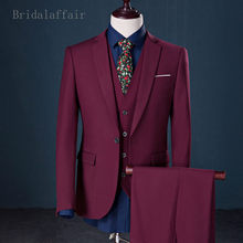 Bridalaffair Fashion Men Suit Wedding Suits For Men 3 Pieces Grey Blue Burgundy Suit Mens Groom Tuxedo Jacket Pants Vest Set(China)