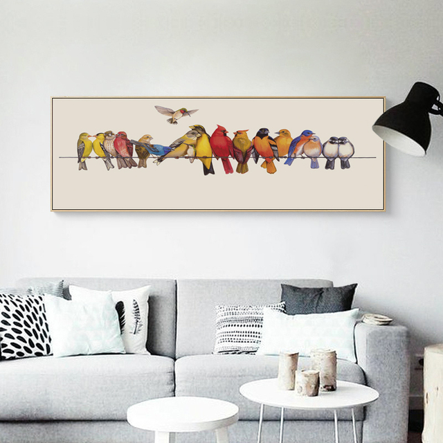 Elegant Poetry Bird Perched On Pole Banner Simple Nordic Canvas Painting  Art Print Poster Wall Paintings