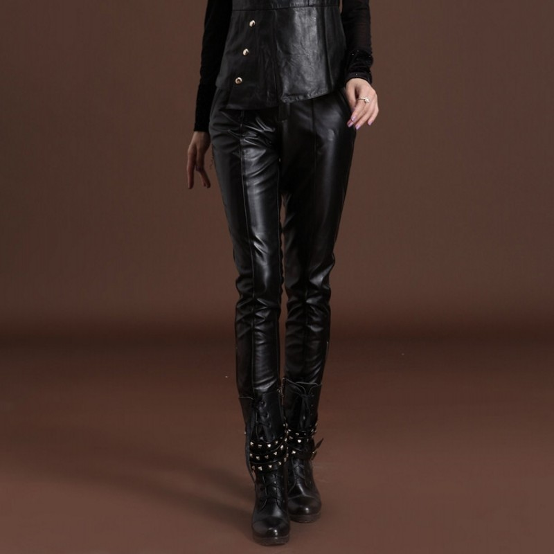 Haute Luxe Rouge En Mode Élégant Streetwear De Femmes Black Réel Moulant Véritable red Noir Cuir Pantalon À Mince La Lady Taille Zqw157Xw