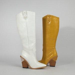Image 5 - สีดำสีเหลืองสีขาวเข่าสูงรองเท้าบูทคาวบอยตะวันตกสำหรับผู้หญิง Winter BOOTS รองเท้าผู้หญิง Pointed Toe รองเท้า Cowgirl 2019