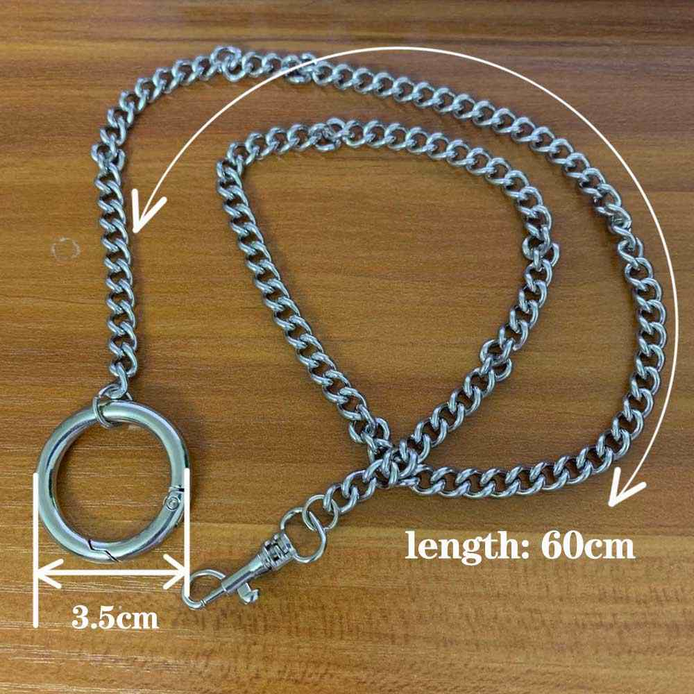 60cm  stainless steel Silver Chain Choker Necklace for Women Men Cool Handmade Girls Punk Gothic Metal Chain Collar with O Round
