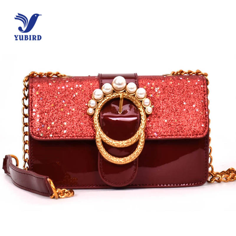 YUBIRD 2018 Fashion Women Sequined Messenger Bag Leather Women's Flap Bag Chain Strap Female Shoulder Bag Lay Crossbody Bags new bag strap chain wallet handle purse acrylic resin strap chain strap replaced bag strap bag spare parts