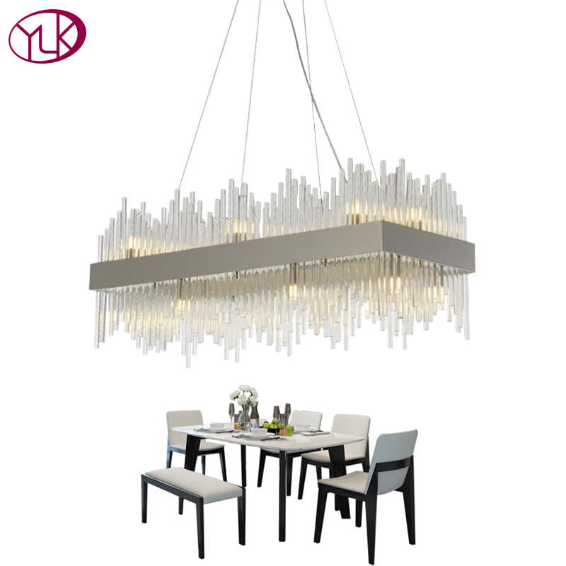 Youlaike Rectangle Modern Chandelier Lighting Luxury Dining Room Glass Lamp Polished Chrome Home Decoration Cristal Lustre