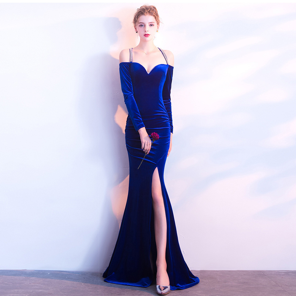 Weddings & Events New Fashion Sweetheart Velour Sexy Split Mermaid Long Evening Dresses Vintage Long Cap Sleeve Velvet Party Prom Gowns Vestido